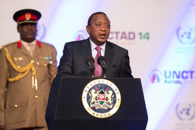 H. E President Uhuru Kenyatta officially opened the 14th session of the United Nations Conference on Trade and Development, UNCTAD at KICC. Photo: KBC